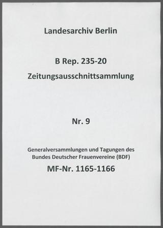 Generalversammlungen und Tagungen des Bundes Deutscher Frauenvereine (BDF)
