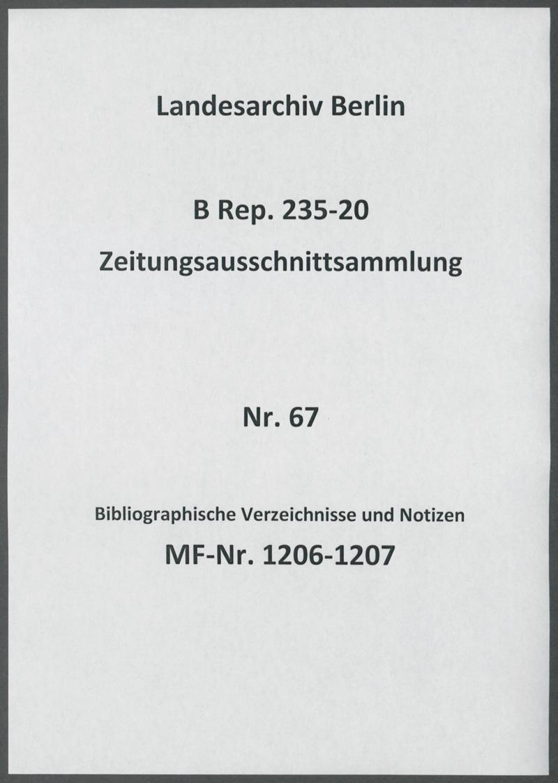 Bibliographische Verzeichnisse und Notizen