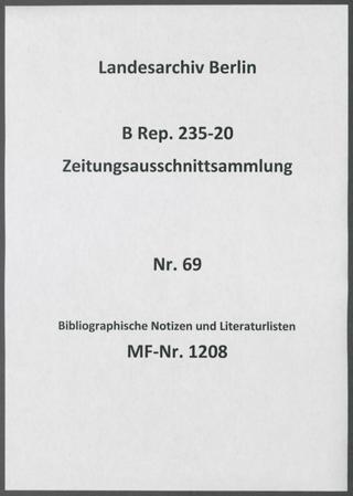 Bibliographische Notizen und Literaturlisten