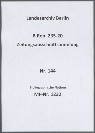Bibliographische Notizen