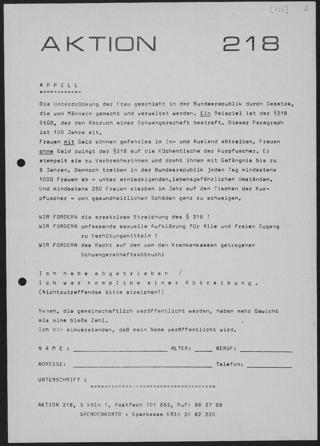 Aufruf zur Beteiligung an der Unterschriftenaktion der Aktion 218 in Köln. Die Aktion 218 Köln trug im Frühsommer 1971 dazu bei, Unterschriften von Hunderten mutiger Frauen zusammenzutragen, die behaupteten, einen Abort vorgenommen zu haben