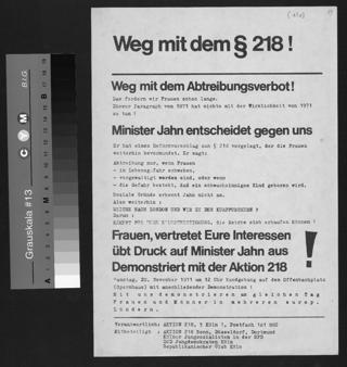 Gemeinsame Aktion der feministischen Initiative Aktion 218, des Republikanischen Clubs, der Kölner Jusos und der Jungdemokraten gegen den Fortbestand des § 218.