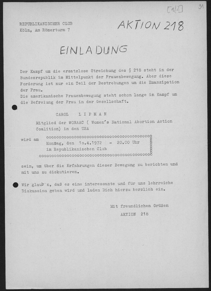 Einladung der Aktion 218 Köln zum Vortrag einer Vertreterin der Women´s National Abortion Action Coalition (USA) am 10.4.1972 in den Republikanischen Club Köln