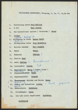 """Ablaufplan des Politischen Nachtgebets """"Ja zum Leben, nein zu § 218"""" am 5. Oktober 1971"""