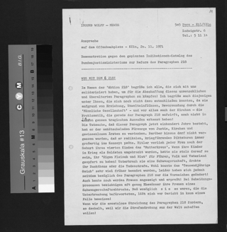 Rede der Aktivistin Ingund Mewes bei der europaweit vereinbarten Demonstration gegen die Kriminalisierung der Abtreibung am 20.11.1971 in Köln.
