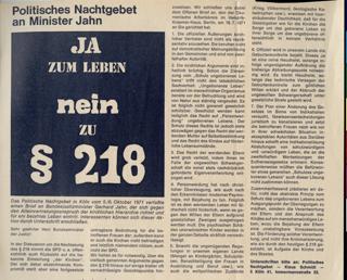 """Offener Brief der Vorbereitungsgruppe """"Politisches Nachtgebet"""" an Bundesminister Jahn gegen den § 218 im Oktober 1971"""