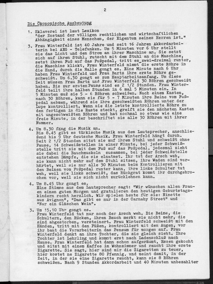 Textheft zum Politischen Nachgebet über Frauenemanzipation: Die Frau liegt immer noch unten von 1971. Im Anschluss gründete sich die erste Kölner Frauengruppe.