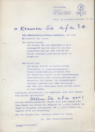 """""""Kernnen Sie efa?"""" Werbeflyer für BuchhändlerInnen zur Bekanntmachung der Zeitschrift """"efa """"."""