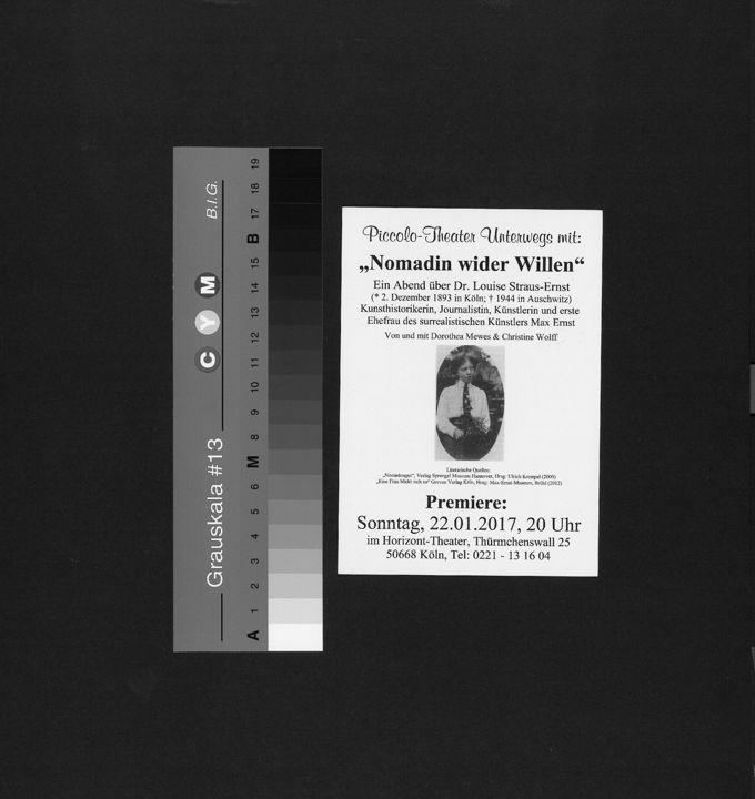 Programmkarte des Piccolo-Theater Unterwegs mit einer Lesung über die Kölner Jüdin Luise Straus-Ernst