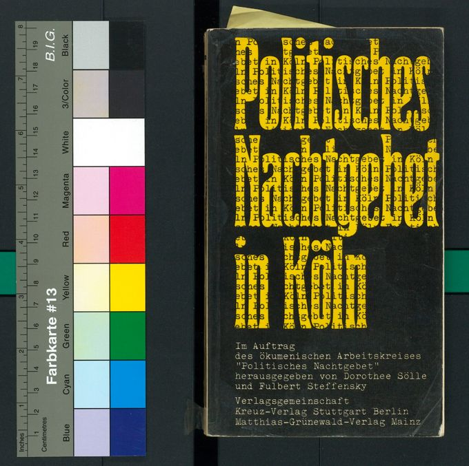 """Buchcover des ersten Bandes mit Protokollen der Politischen Nachtgebete: """"Politisches Nachtgebet in Köln"""". Die Frauenthemen sind jedoch nicht enthalten."""