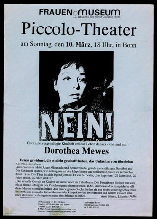 """Ankündigung der Aufführung des Stückes """"Nein!"""" von Dorothea Mewes im Frauenmuseum Bonn"""