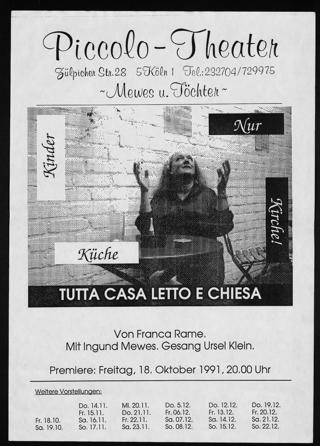 """Ankündigung der Premiere des Theaterstücks """"Nur Kinder, Küche, Kirche!"""", verfasst von Franca Rame, aufgeführt im Piccolo-Theater in Köln"""