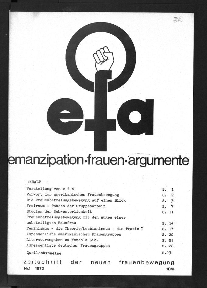 Cover der ersten Ausgabe feministischen Zeitschrift efa (Heft 1, 1973)