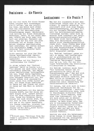 """Feminismus - die Theorie Lesbianismus - die Praxis? Früher Artikel über Lesben in den USA (efa, Heft 1, 1973, S. 17-20). Die Autorin wird nicht benannt, Ursula Linnhoff plante zu der Zeit ihr Buch """"Die Neue Frauenbewegung. USA - Europa seit 1968""""."""
