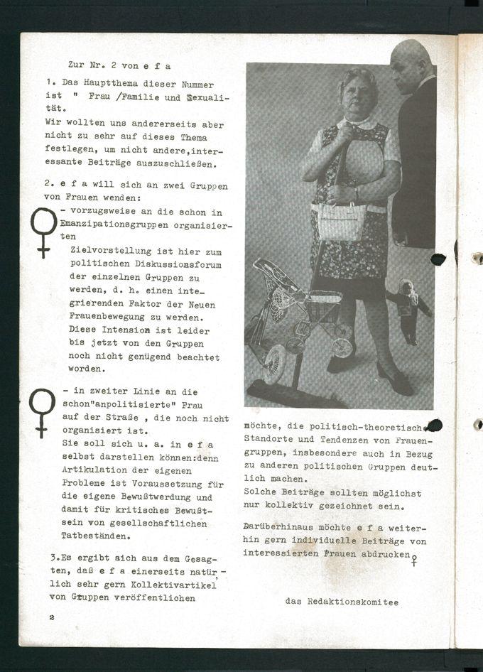 Editorial der zweiten Ausgabe feministischen Zeitschrift efa mit Anmerkungen zur Zielgruppe