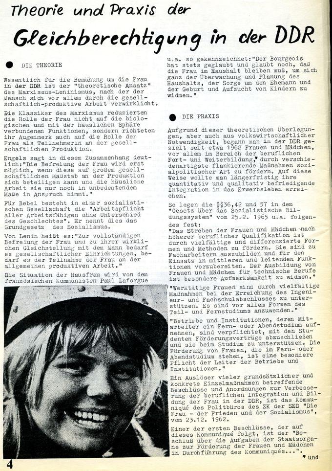Nur selten befasste efa sich mit Frauen in sozialistischen Ländern. Hier ein Beitrag der Kölner Gruppe Sofa über Frauen in der DDR