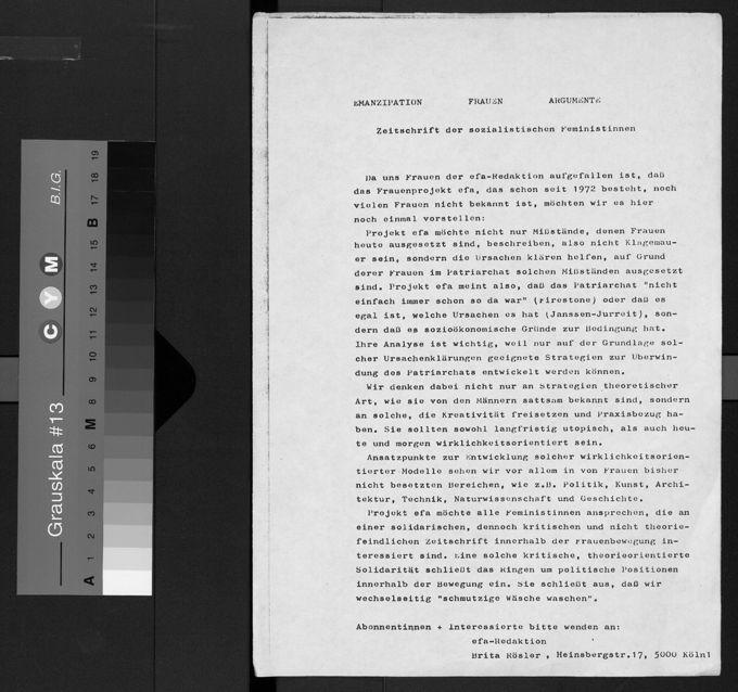 """Flyer zur Bekanntmachung der Zeitschrift """"efa - Zeitschrift der sozialistischen Feministinnen"""""""