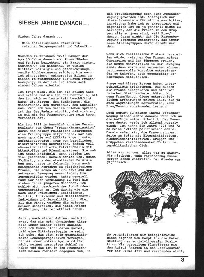 """Bilanz von Ursula Linnhoff, einer sozialistischen Feministin, zu ihren Jahren der Mitwirkung in der Frauenbewegung und ihren persönlichern Veränderungen; 14-Punkte zu einem """"Programm von sozialistischem Feminismus"""""""