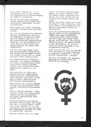 Einführung in den Themenschwerpunkt Frauenbewegung in den USA der ersten Ausgabe feministischen Zeitschrift efa (Heft 1, 1973, S. 2)