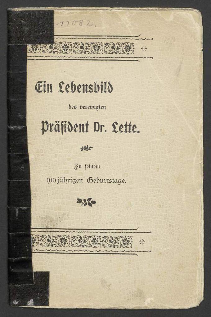 Ein Lebensbild des verewigten Präsident Dr. Lette / Seite 1