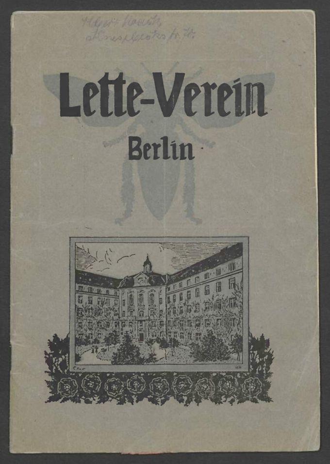 Programm des Lette-Vereins zur Förderung der Bildung und Erwärbsfähigkeit von Frauen und Mädchen 1919 / Seite 1