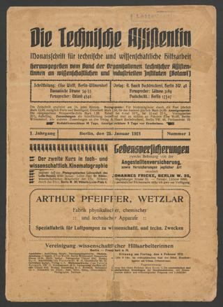 Die Technische Assistentin. Monatsschrift für technische und medizinische Hilfsarbeit. Jahrgang 1 (1921) 1-6, 9