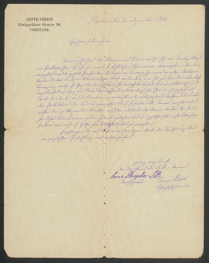 Brief von Anna Schepeler-Lette / Seite 1