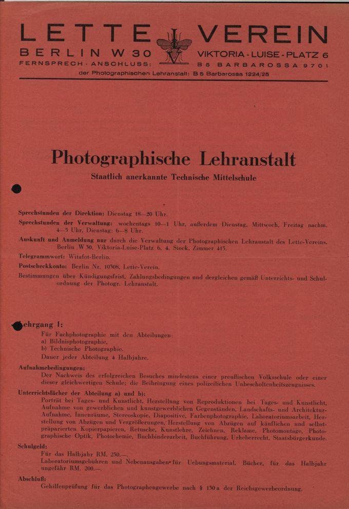 Prospekt der Photographischen Lehranstalt im Lette-Verein / Seite 1