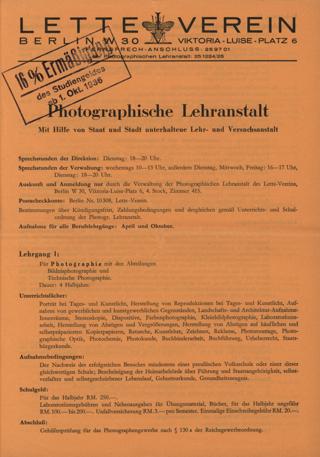 Prospekt der Photographischen Lehranstalt im Lette-Verein