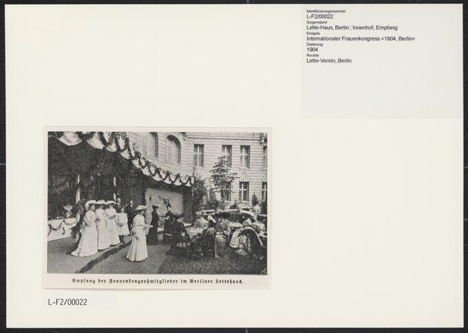 3. Internationaler Frauenkongress in Berlin vom 12. bis 19. Juni 1904. Empfang im Lette-Haus / Seite 1
