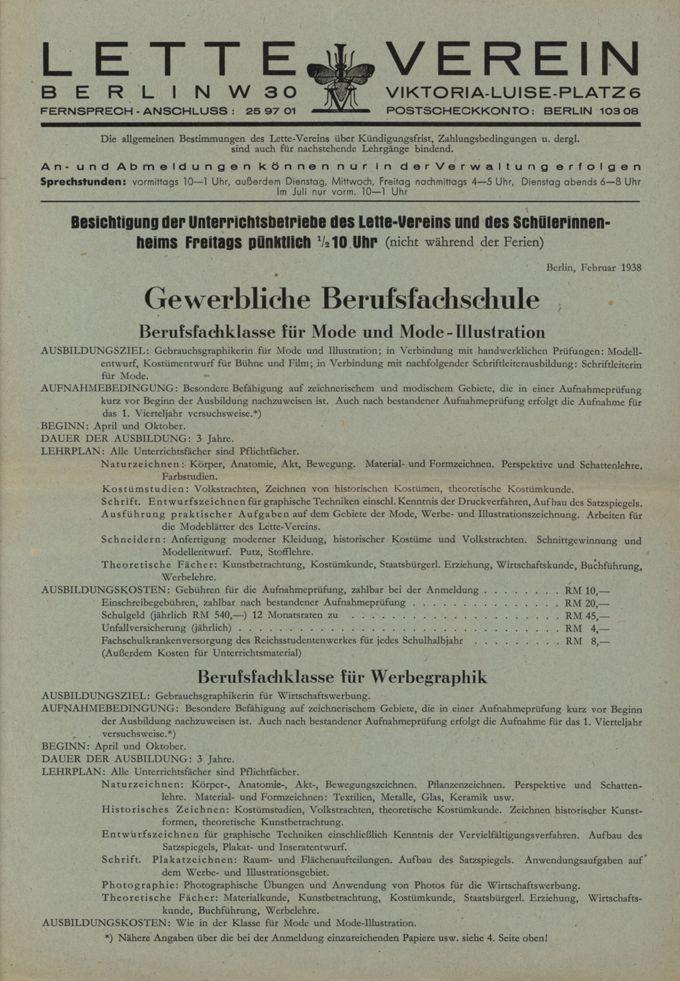 Prospekt der Gewerblichen Berufsfachschule im Lette-Verein / Seite 1