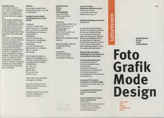 Flyer der Berufsfachschule für Foto-, Grafik- und Modedesign im Lette-Verein