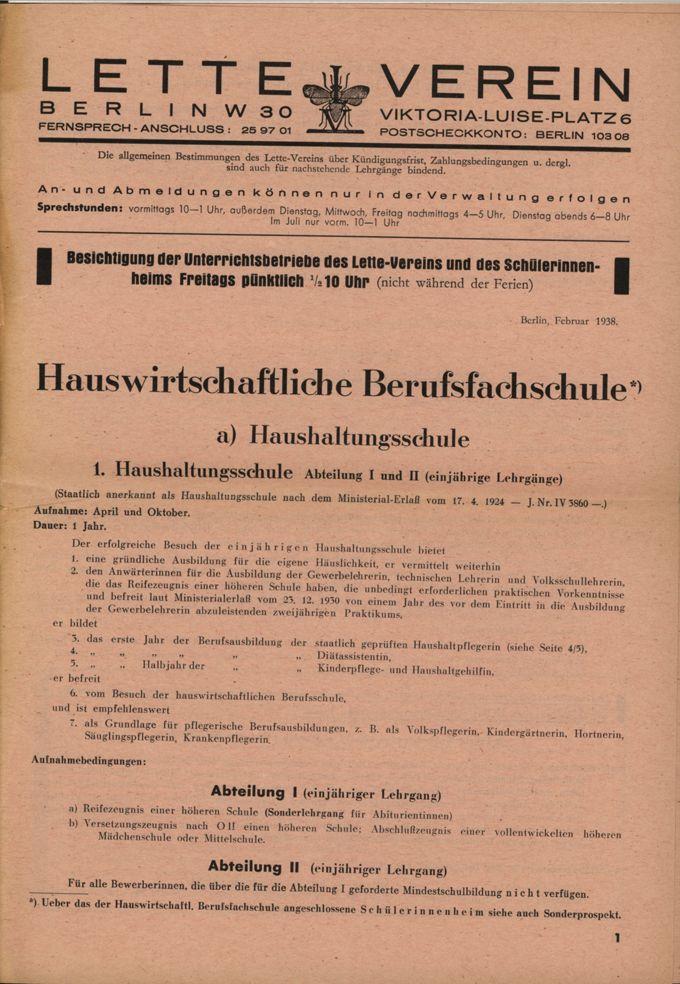 Prospekt der Hauswirtschaftlichen Berufsfachschule im Lette-Verein / Seite 1