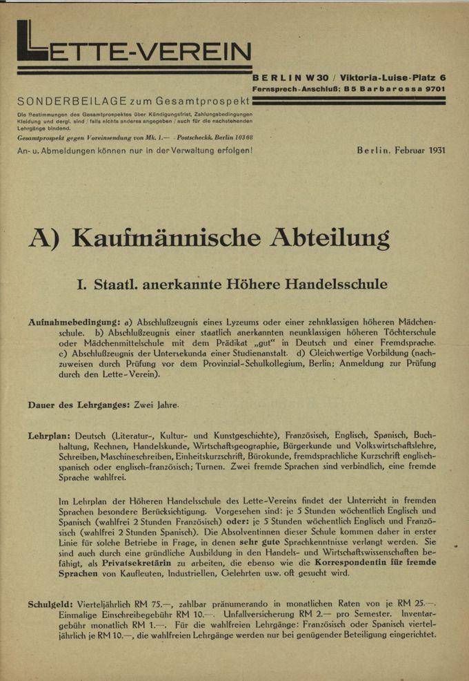 Prospekt der Kaufmännischen Abteilung im Lette-Verein / Seite 1