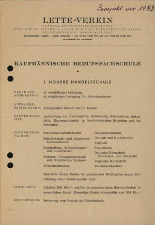 Prospekt der Kaufmännischen Berufsfachschule im Lette-Verein