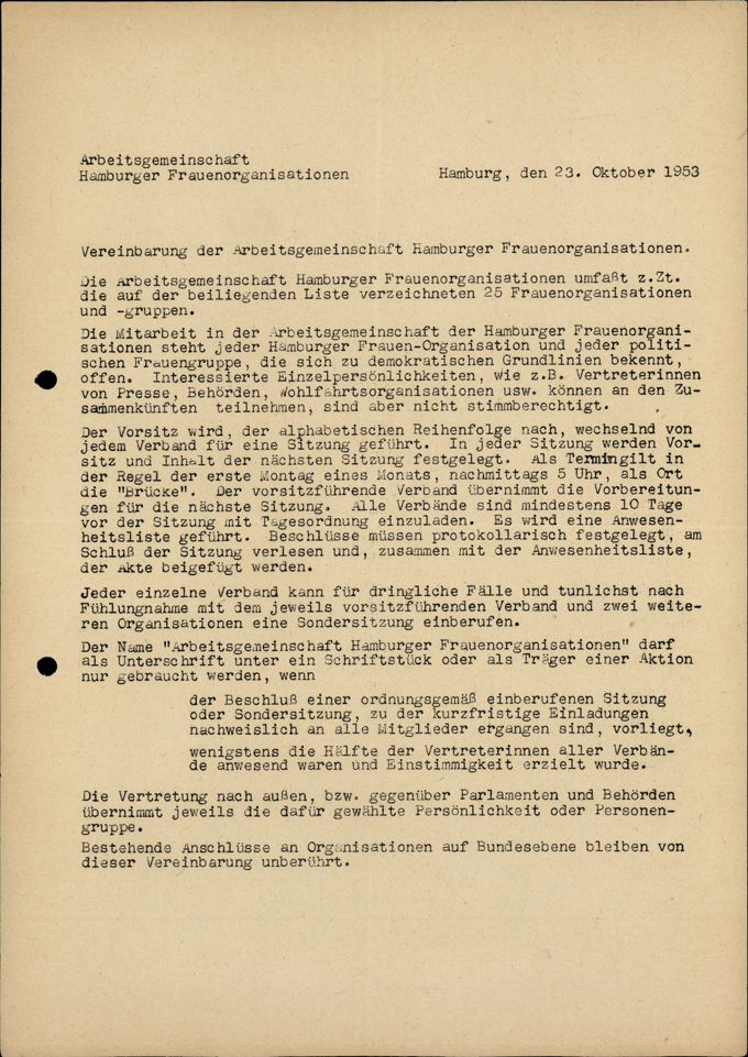Vereinbarung der Arbeitsgemeinschaft Hamburger Frauenorganisationen