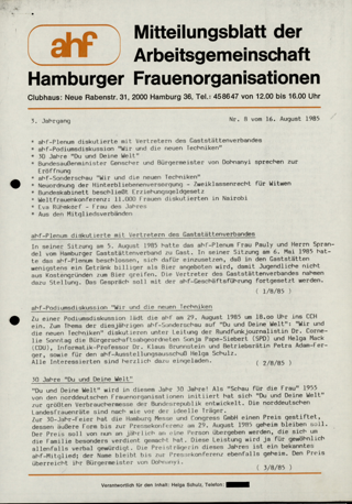 Mitteilungsblatt der Arbeitsgemeinschaft Hamburger Frauenorganisationen