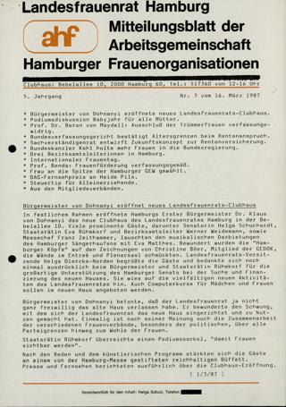 Mitteilungsblatt der Arbeitsgemeinschaft Hamburger Frauenorganisation