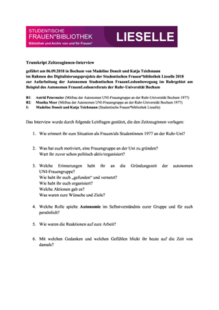 Interview: Autonome Uni-Frauengruppe an der Ruhr-Universität Bochum 1977