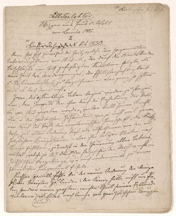 Otto, Louise: Selbsterlebtes. Skizzen aus Haus und Welt. II. Kinderjahre bis 1830 / Seite 1