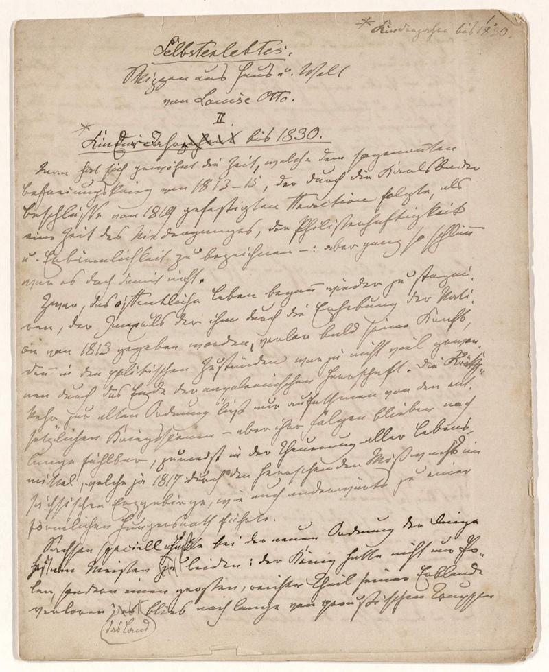 Otto, Louise: Selbsterlebtes. Skizzen aus Haus und Welt. II. Kinderjahre bis 1830