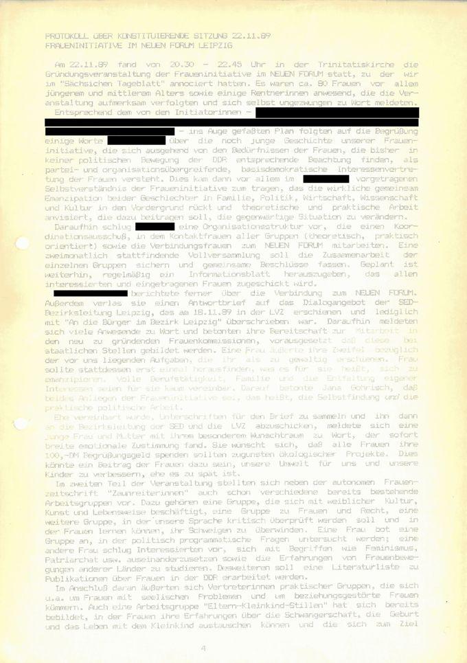 Protokoll über konstituierende Sitzung 22.11.89 : Fraueninitiative im Neuen Forum / Seite 1
