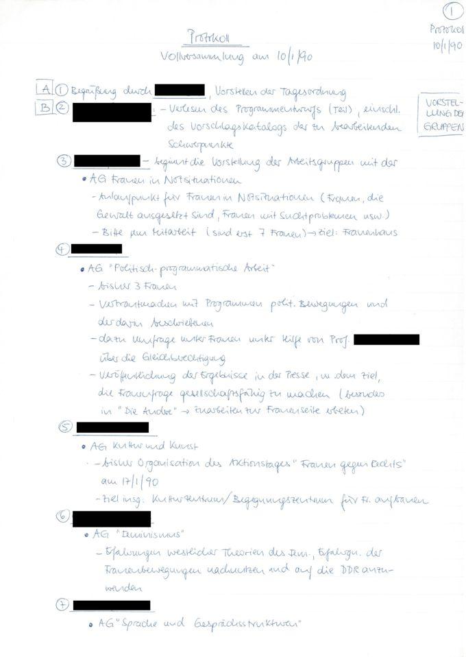 Protokoll : Vollversammlung am 10/1/90 [Online Ressource] / Seite 1