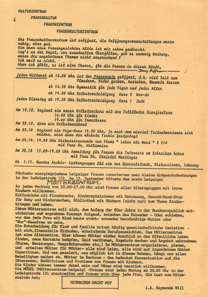Das erste Leipziger Mütterzentrum / Seite 1