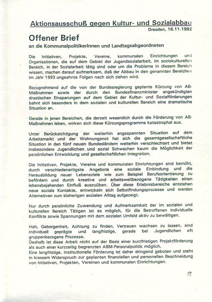 Offener Brief an die KommunalpolitikerInnen und Landtagsabgeordneten : [Online Ressource] / Seite 1