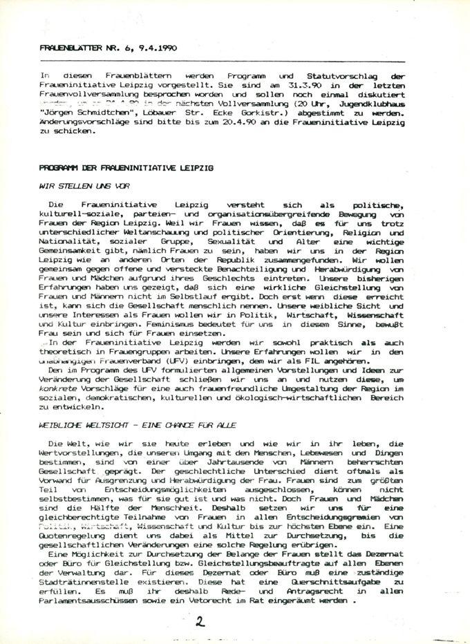 Programm der Fraueninitiative Leipzig : [Wir stellen uns vor, Weibliche Weltsicht - eine Chance für alle, Gewalt gegen Frauen, Wir bestimmen selbst was uns geschieht, Frauenarbeit, frauenfreundliche Erzeihung, Ökologie, Vielfalt im Zusammenleben] / Seite 1