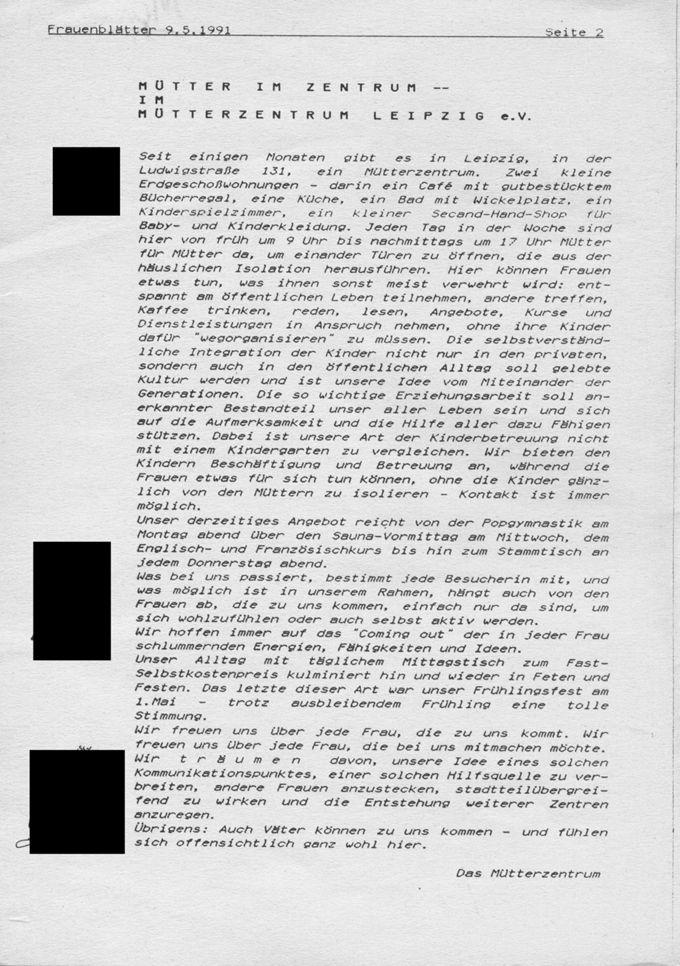 Mütter im Zentrum - Im Mütterzentrum Leipzig / Seite 1