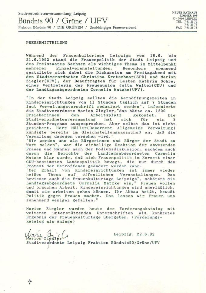 Pressemitteilung zur Kitadiskussion : [Online Ressource] / Seite 1