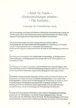 - Arbeit für Frauen - , - Kindereinrichtungen erhalten - , - Pille kostenlos - : Forderungen der Frauenkulturtage Leipzig [Online Ressource]