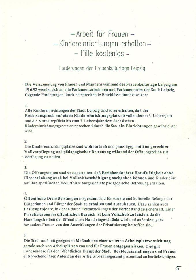 - Arbeit für Frauen - , - Kindereinrichtungen erhalten - , - Pille kostenlos -  : Forderungen der Frauenkulturtage Leipzig [Online Ressource] / Seite 1